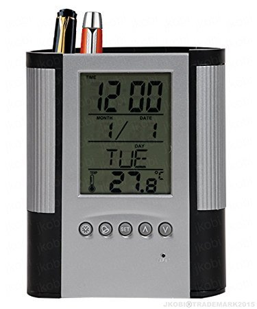 Botad Silver&Black Pen Pencil Holder With Digital Clock Date Temperature Alarm  available at amazon for Rs.299