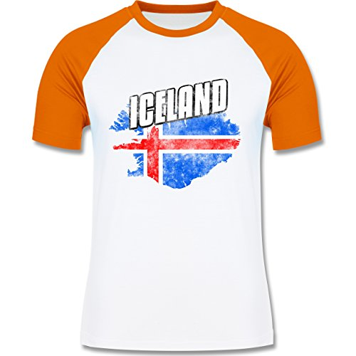 Shirtracer Fußball-WM 2018 - Russland - Iceland Umriss Vintage - Herren Baseball Shirt Weiß/Orange
