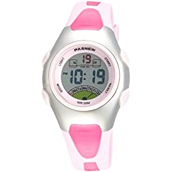 Fashion Pasnew Waterproof Children Boys Girls Digital Sport Watch with Alarm, Chronograph, Date (Pink)