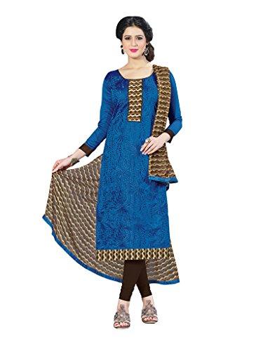 Applecreation Women's Chanderi Cotton Salwar Kameez (Blue, 21SPRK2108)