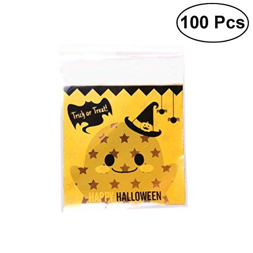 Healifty 100 Stück Halloween Kürbis Cookie Deko Beutel Kunststoff Bonbons Beutel Beutel Beutel für Bonbons Kuchen Collations und Partys