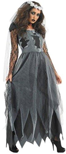 Halloweenia - Damen Vampir Braut Kleid, Kostüm, Halloween, S, Grau (Sarg Braut Halloween Kostüme)
