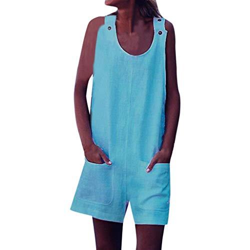 hosen Damen Sommer Sexy Elegant Größe äRmellos Casual Kurz Jumpsuits BeiläUfige Mini Einfarbig mit Taschen Overall Rompers Breites Bein Hosen ()