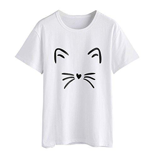 ZODOF Camiseta de Mujer Gato Imprimir Sin Tirantes Blusa O Cuello Sólido  Manga Corta Tops t 0c5e633c8a9