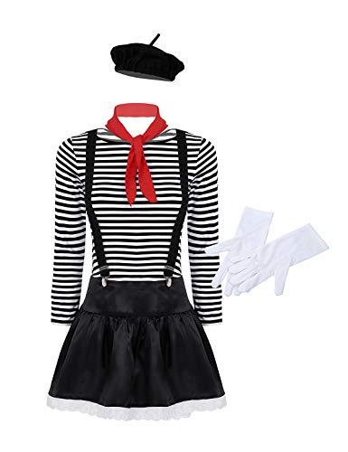 YiZYiF Damen Französisch Pantomime Kostüm Künstler Zirkus Performer Kostüm - gestreift T-Shirt, Minirock, Baskenmütze, Handschuhe, Schal, Hosenträger Schwarz Small