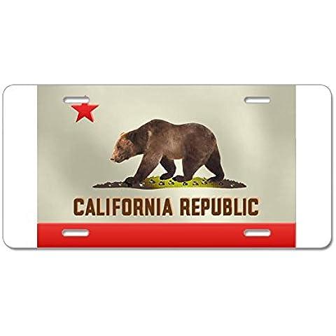 CafePress California Bear Bandiera in alluminio targa, Standard, colore: multicolore