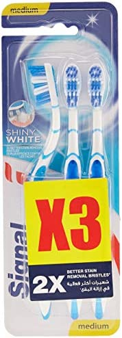 Signal Toothbrush Shiny White Medium Multipack x 3 pcs