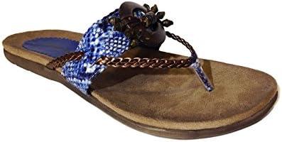 Sandalia Etnica Azul-Camel METALINE