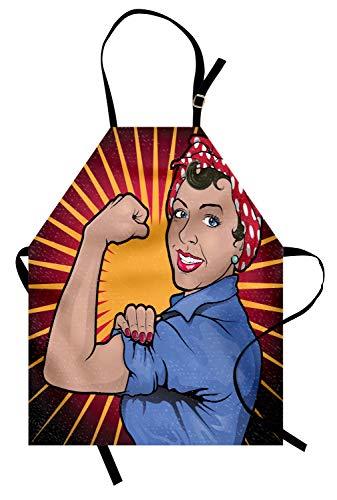 ABAKUHAUS Feminista Delantal de Cocina, Mujer De Gran Alcance Retro, Altura Ajustable Lavable Sus Colores No Destiñen