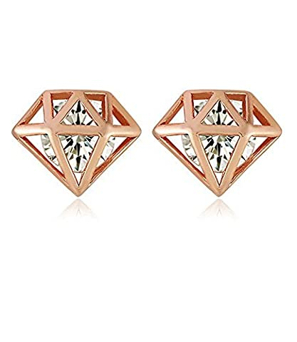 Bolzen-Ohrring-Rosen-Gold überzogener kubischer Zirconia-Diamant-Pfosten-Schrauben-Nickel geben Pyramide für Frauen frei