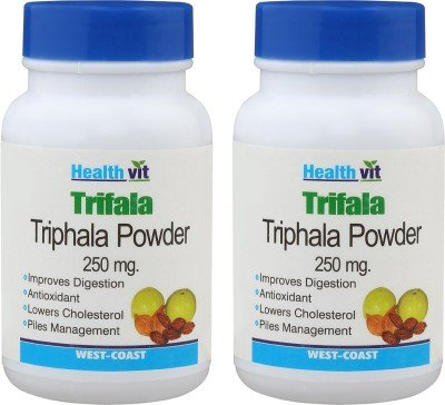 HealthVit Triphala Powder 250 mg 60 Capsules (Pack Of 2)  available at amazon for Rs.210