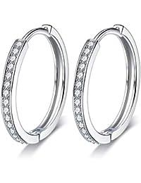 Lydreewam Women 925 Sterling Silver Hinged Hoop Earrings with 3A Cubic Zirconia, Diameter 24mm