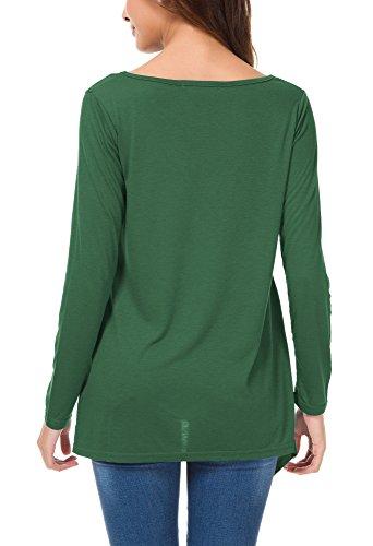 Urban GoCo Femmes Tee-Shirt Manche Longue Chemisier Tunique Top Ourlet Irrégulier avec Poches Vert foncé