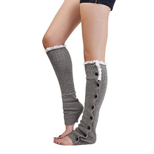 1 Paar Damen Spitzenbesatz Strick Stiefel Socken Beinstulpen Strumpfhosen Kniestrümpfe mit extra dicker Grau (Fußkettchen Grau Socken)