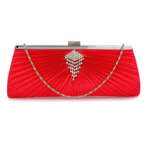 Pochette In Tessuto Sparkly Diamante Pochette Da Sera Per Sposa Sposi 00221 (pochette In Cristallo Nero) Pochette In Raso Rosso