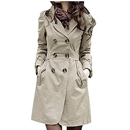 Damen Trenchcoat Doppel-breasted , Sondereu Elegante Mantel mit Gürtel Tasche Schlank lang Outwear Schöne Jacke Frühlingmantel Khaki L