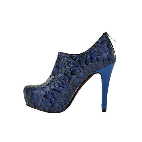 VogueZone009 Femme Zip Rond à Talon Haut Pu Cuir De Cheville Bottes Bleu