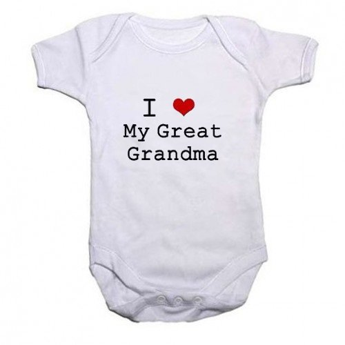 A Unisex Baby Grow With the wording I Love My Great Grandma from our Baby Clothing range. A unique Birthday , Christening or Christmas stocking filler gift idea for new babies bodysuit , Onesie