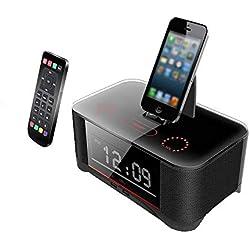 SPEUTO Haut-Parleur Bluetooth avec Réveil, Station d'accueil Radio-réveil avec Station de Charge sans Fil Bluetooth Radio FM Chargeur de Dock et Compatible avec Samsung s4 et Android 4.1 -Noir