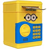 MousePotato Electronic Piggy Bank Password Lock Money Safe for Coins and Notes Collecting (YELLOW)