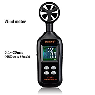 Digital Anemometer UYIGAO Handheld Wind Speed Meter Measuring Air Flow Velocity with Backlight and Max/Min for Windsurfing Kite Flying Sailing Surfing Fishing