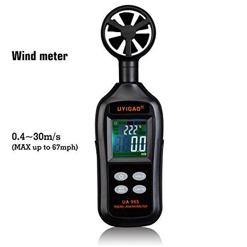 Anémomètre numérique UYIGAO Compteur de vitesse du vent de poche Mesure de la vélocité du débit d'air avec rétroéclairage et Max/Min pour la planche à voile Kite Flying Sailing Surf Fishing