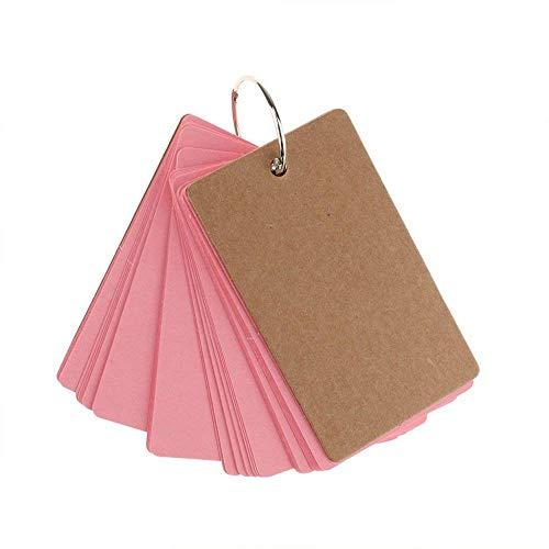 Vektenxi DIY Blank Kraftpapier Hinweis Papier Visitenkarten Wortschatz Wort Karte Nachricht Karte für Hochzeit Täglichen Gebrauch 1 STÜCKE Rosa (Wortschatz Hinweis)