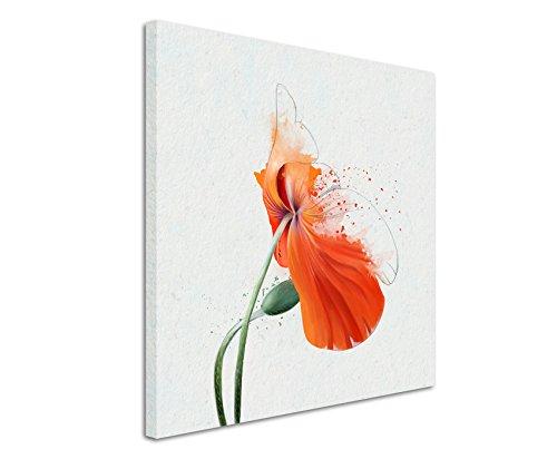 Quadratische Fotoleinwand 90x90cm Orange Mohnblumen im Splash Art Stil auf Leinwand exklusives Wandbild moderne Fotografie für ihre Wand in vielen Größen -