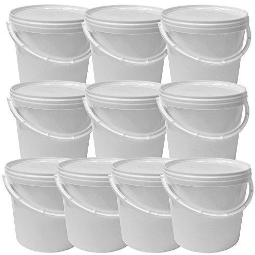 Lot de 10 seaux plastique 5 L conteneur alimentaire avec hanse et couvercle (10x22052)
