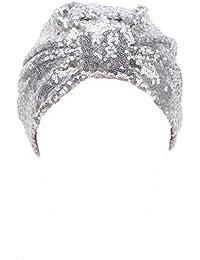Mützen Transer® Muslim Damen Wrap Hijib Cap Make-up Hut Falten Stretch Turban Gold Silber Schwarz Marine Grau Beige Mützen mit Pailletten
