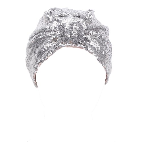 Mützen Transer® Muslim Damen Wrap Hijib Cap Make-up Hut Falten Stretch Turban Gold Silber Schwarz Marine Grau Beige Mützen mit Pailletten (Silber) (Jersey-wrap Leichte)