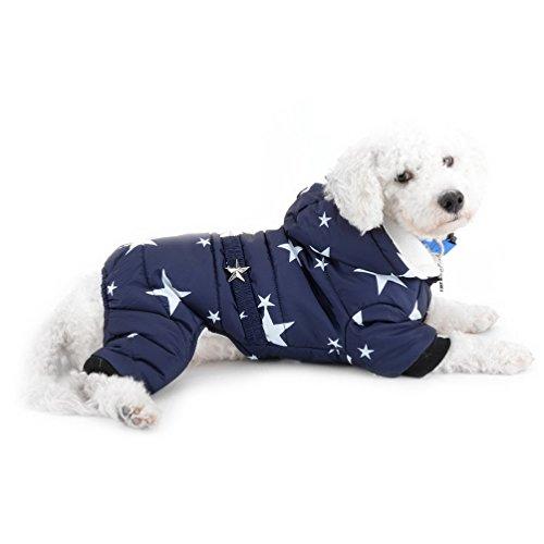 selmai Schneeanzug für kleine Hunde Fleece gefüttert Star Gürtel Kapuzen Jumpsuit four-legs Hose Winter Mäntel Puppy Hund Chihuahua Apparel Kleidung Outfits -