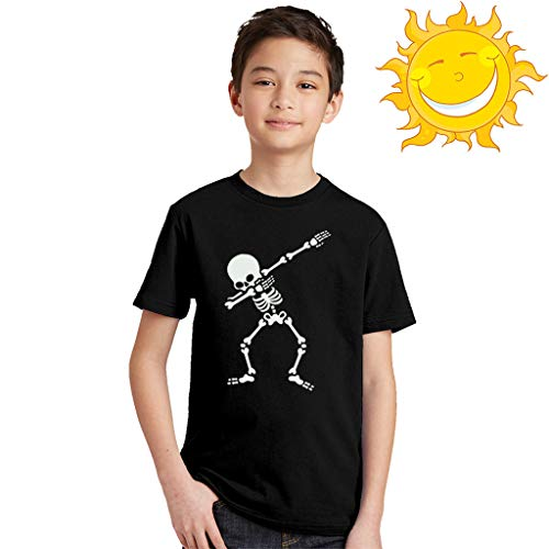 LijunMimo Baby Mädchen Jungs Runden Hals Kurz Ärmel T-Shirts Tops Karikatur Nachtleuchtung Schädel Drucken Tees Hemden Outfits (Tee Schädel-womens)
