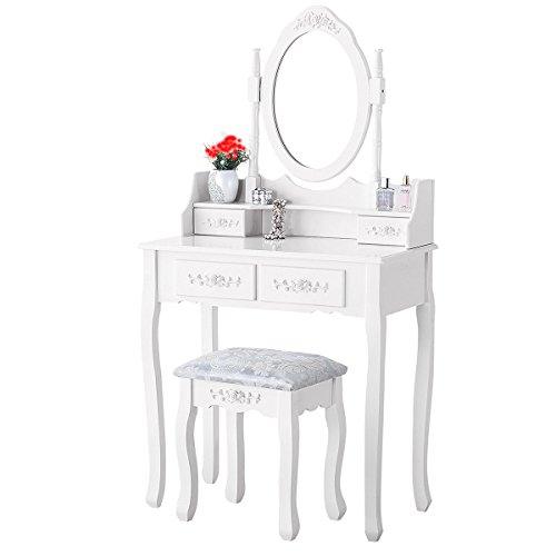 Xuanyue bianco vanity trucco toeletta con 4cassetti da toeletta con specchio ovale e cassetti per bambine, 1specchio + 4cassetti + 1sgabelli colore bianco makeup desk set