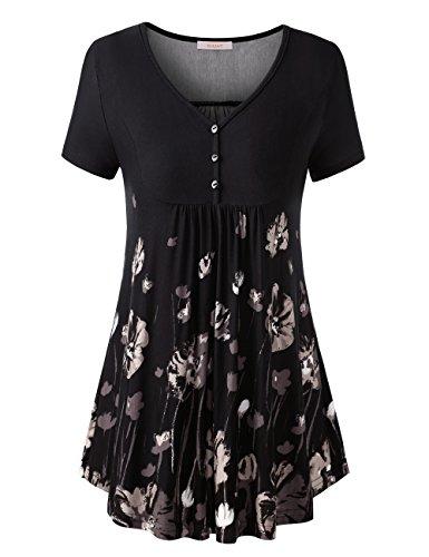 WAJAT Damen Henleyshirt LongTee V-Ausschinitt Tunika Vintage Basic Schwarz Blumen 2XL