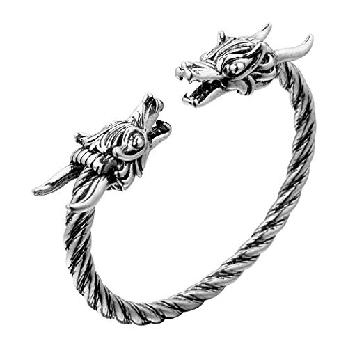 Wikinger Drachenkopf Armreif, AILUOR Einzigartiges Design Drachen Herren Armband Edelstahl Verdrehten Stahlkabel Armreif Keltischer Knoten Manschette - Elastische Verstellbare (Silber-1)