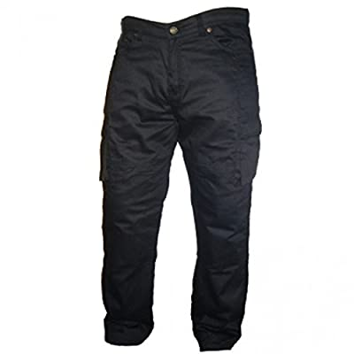 Australian Bikers Gear UK Australian Bikers Gear Black Motorcycle Kevlar CE Armoured Cargo Jeans Trousers UK 38L-EU 48L
