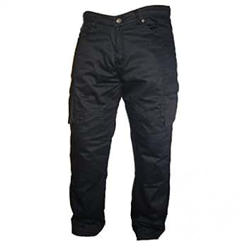 Bikers Gear Black Motorcycle Kevlar CE Armoured Cargo Jeans Trousers UK 36L- EU XL Long