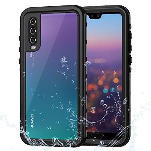 Lanhiem für Huawei P20 Pro Hülle, IP68 Zetrifiziert Wasserdicht Handy Hülle 360 Grad Schutzhülle, Stoßfest Staubdicht und Schneefest Outdoor Schutz mit Eingebautem Displayschutz - Schwarz