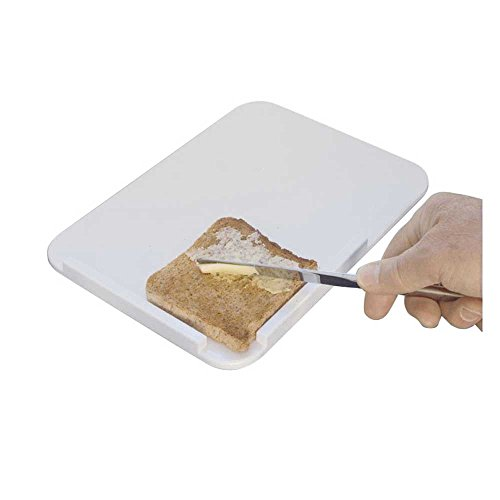 Behrend Brotschmierbrett, Einhand- Brotschmierhilfe, Anti-Rutsch-Noppen, weiß, 26x18cm