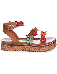 5705356bb5ecb Linzi Melody - Tan Nappa Flatform with All Over Floral Detail