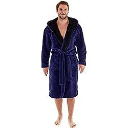 Harvey – Bata de forro polar suave con capucha y forro de contraste de 260g/m² para hombre azul azul