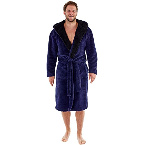 Harvey – Bata de forro polar suave con capucha y forro de contraste de 260g/m² para hombre azul azul M