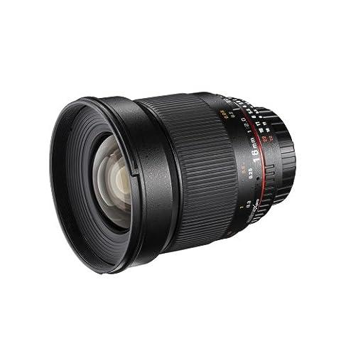 Walimex Pro 16mm 1:2,0 DSLR-Weitwinkelobjektiv für Canon EF Objektivbajonett schwarz (manueller Fokus, für APS-C Sensor gerechnet, IF, Filterdurchmesser 77mm, mit abnehmbarer Gegenlichtblende)