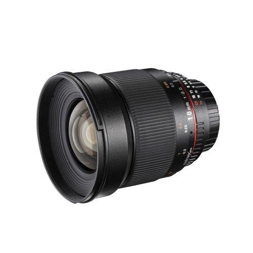 Walimex Pro 16mm 1:2,0 DSLR-Weitwinkelobjektiv für Canon EF Objektivbajonett schwarz (manueller Fokus, für APS-C Sensor gerechnet, IF, Filterdurchmesser...