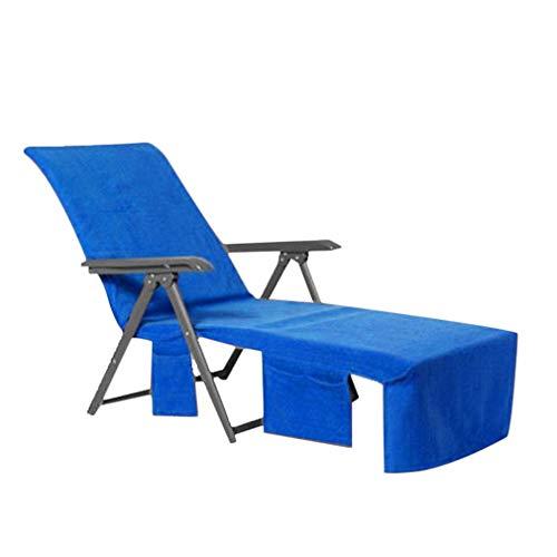 Sonnenliegen Handtuch Sunbed Covers Strandtücher Heimtextilien Bad Leinen Lounge-Matte für Sonnenliege Liegestuhl mit Seitentasche 215x75cm, Blau