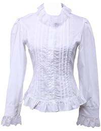 an tai na  Blanca Algodón Volantes Encaje Classical Victoriana Lolita  Camisa Blusa de 12ce77c3b2c