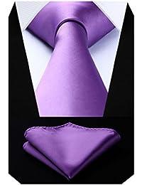 Hisdern Hombre Check Dot Striped Tie Panuelo Wedding Party Prom Necktie & Pocket Square Set 6fki6eSqyU