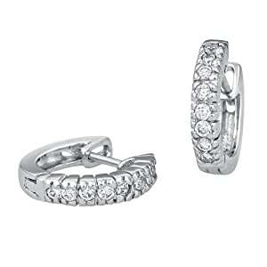 Peora Valentine Sterling Silver Rhodium Plated Small Hoop Bali Earrings with Cubic Zirconia (PE1268)