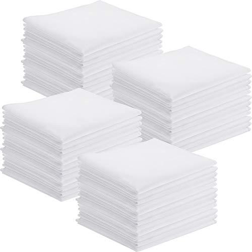 Leinuosen 50 Packung Taschentücher Baumwolle Klassische Taschentücher Einstecktuch Handtuch Weiß Kleine Größe 11 x 11 Zoll für Kinder Mädchen Junge Tee Partei -